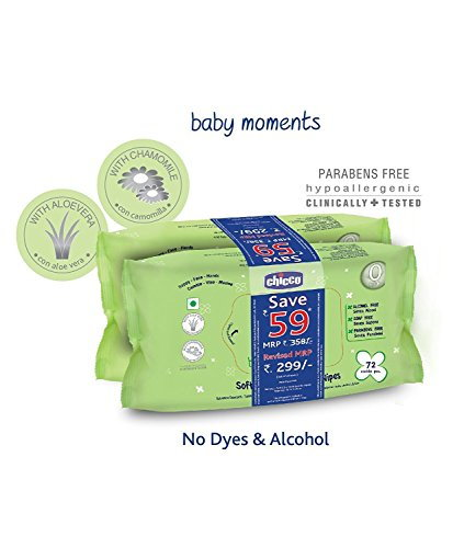 Chicco Moments Cleansing Baby Wipes, 72 Pieces (Pack of 2)