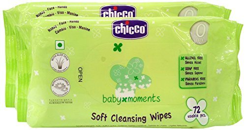 Chicco Cleansing Soft Baby Wipes, 72 Pieces (Pack of 2)