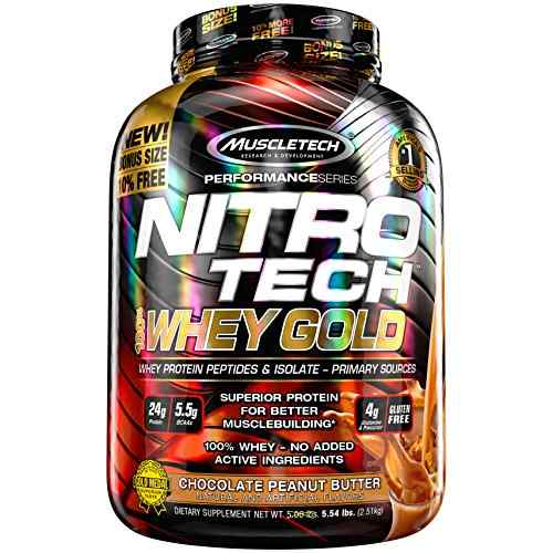 MuscleTech NitroTech 100% Gold Whey Isolate & Peptides (2.5Kg, Chocolate Peanut Butter)