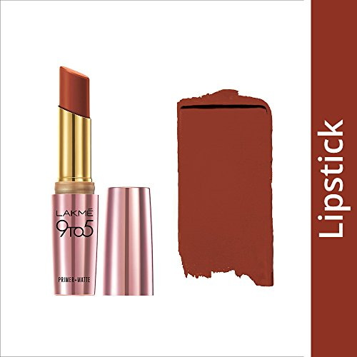 Lakme 9 to 5 Primer & Matte Lipstick, Red Rust 3.6 GM