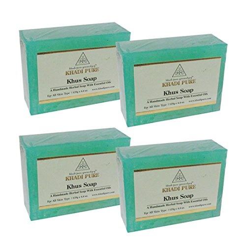 Khadi Pure Herbal Khus Soap, 125 GM (Pack of 4)