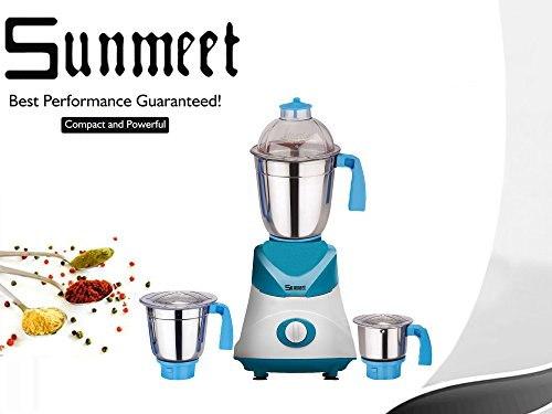 Sunmeet 1000 Watts Mixer Juicer Grinder Blue & White, (4 Jars)