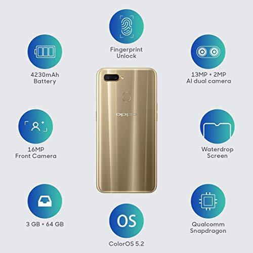 OPPO A7 (64GB, 4GB RAM) Glaring Gold Mobile