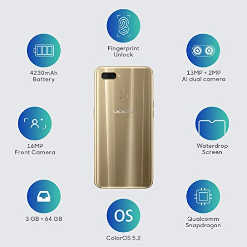 OPPO A7 (64GB, 3GB RAM) Glaring Gold Mobile