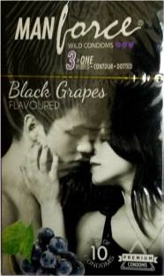 Manforce Extra Dotted Black Grapes Dotted Condoms (20 Condoms)
