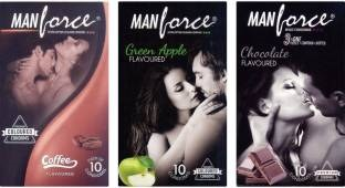 Manforce Coffee Green Apple and Chocolate Condoms (30 Condoms)