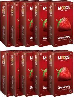 Moods Strawberry Condoms (120 Condoms) - Pack of 10