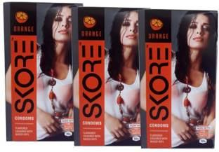 Skore Orange Flavoured Dotted Condoms (30 Condoms)
