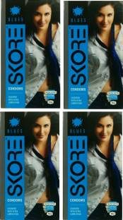 Skore Blues Coloured Condoms (40 Condoms) - Pack of 4