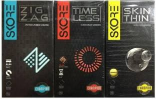 Skore Combo of Zig Zag Time Less And Skin Thin Condoms (10 Condoms)