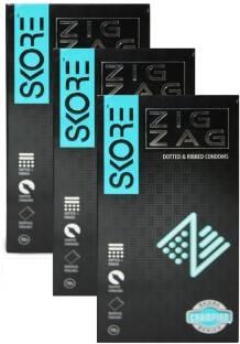 Skore Zig Zag Condoms (10 Condoms) - Pack of 3