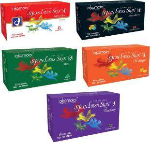 Okamoto Skinless Skin Ultra Thin,Strawberry, Blueberry,Mint and Orange Condoms(50 Condoms)