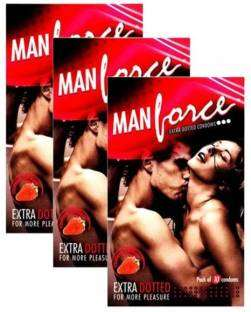 Manforce Extra Dotted Strawberry Condoms (30 Condoms)
