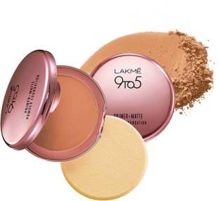 Lakme 9 To 5 Primer + Matte Powder Foundation Compact, Natural Almond