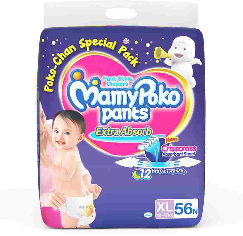 Mamy Poko Pants Baby Diapers, XL 56 Pieces