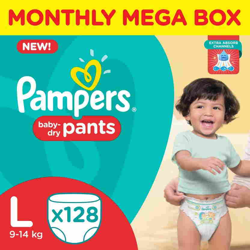 Pampers Pants Monthly Mega Box L Diapers (128 Pieces)