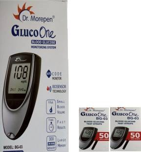 Dr. Morepen BG 03 Blood Glucose Meter (with 100 Strips)