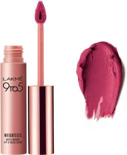 Lakme 9 to 5 Weightless Matte Lipstick Mousse Lip & Cheek Color Fuchsia Sude