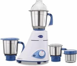 Preethi Blue Leaf Silver 600 Watts Mixer Grinder Blue & White, (3 Jars)