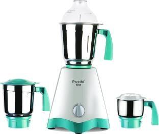 Preethi Elite 600 Watts Mixer Grinder White & Green, (3 Jars)