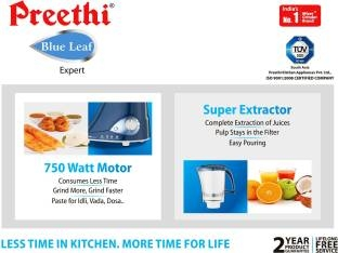 Preethi MG-214 750 W Leaf Expert Juicer Mixer Grinder Blue, (4 Jars)