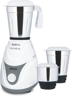 Inalsa Eon 550 Watts Mixer Grinder White & Grey, (3 Jars)
