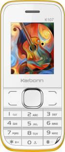 Karbonn K107 (White & Yellow Mobile) Mobile