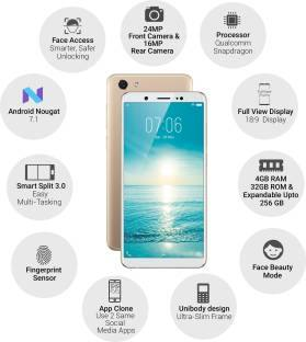 Vivo V7 (Vivo 1718) 32GB Champagne Gold Mobile