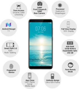 Vivo V7 (Vivo 1718) 32GB Matte Black Mobile