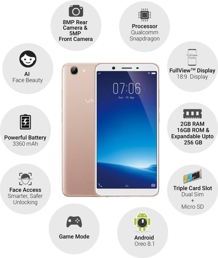 Vivo Y71i (Vivo 1801/1731B) 16GB Gold Mobile