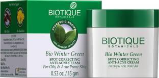 Biotique Bio Winter Green Spot Correcting Anti-Acne Cream For Oily And Acne Prone Skin (15gm)