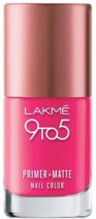 Lakme 9 to 5 Primer Matte Nail Color, Fuchsia
