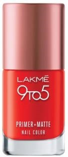 Lakme 9 to 5 Primer Matte Nail Color, Crimson