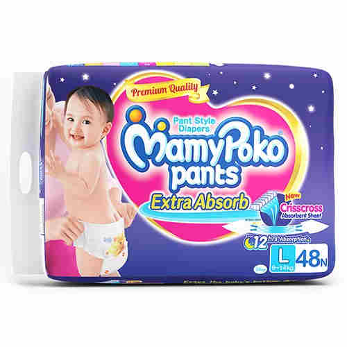 Mamy Poko Extra Absorb Pant Style L Diapers (48 Pieces)
