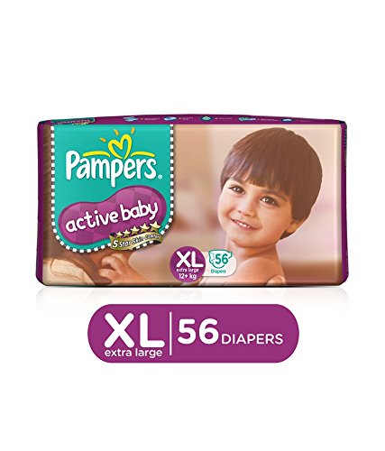 Pampers Active Baby Diapers, XL 56 Pieces