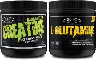 Sinew Nutrition Combo of Micronized Creatine 300gm And L-Glutamine (330gm)