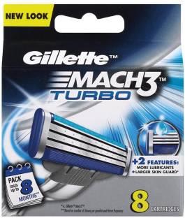 Gillette Mach 3 Turbo Manual Shaving Razor Blades Cartridge  8s pack