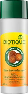 Biotique Bio Sandalwood 50+ SPF Sunscreen Ultra Soothing Face Lotion For All Skin Types (120ml)