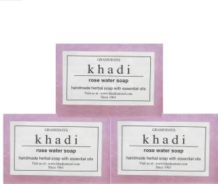 Khadi Pure Handmade Rose Water Soap 125 GM Pack of 3