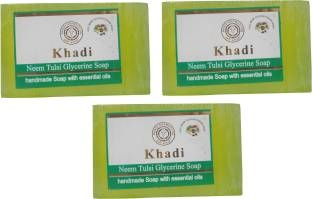 Khadi Neem Tulsi Glycerine Soap, 125 GM (Pack of 3)