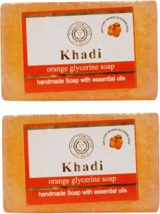 Khadi Orange Glycerine Soap 125 GM Pack of 2