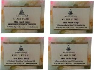 Khadi Pure Mix Fruit Soap, 125 GM (Pack of 4)
