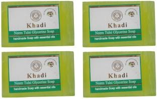 Khadi Neem Tulsi Glycerine Soap, 125 GM (Pack of 4)