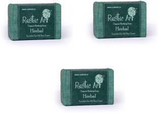 Rustic Art Organic Herbal Soap 300 GM Pack of 3