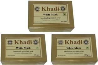 Khadi Herbal White Musk Soap, 125 GM (Pack of 3)
