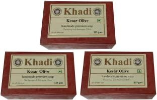 Khadi Kesar Olive Soap, 125 GM (Pack of 3)