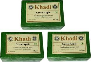 Khadi Green Apple Soap, 375 GM (Pack of 3)