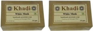 Khadi Herbal White Musk Soap, 125 GM (Pack of 2)