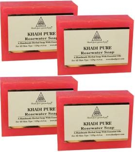 Khadi Pure Handmade Rose Water Soap 125 GM Pack of 4