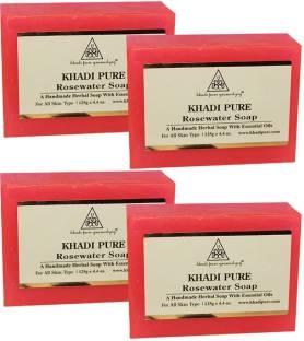 Khadi Pure Handmade Rose Water Soap, 125 GM (Pack of 4)